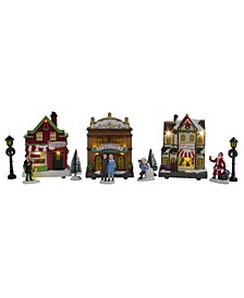 11-Piece LED Lighted Christmas Village Table Top Decoration big