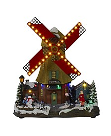 LED Lighted and Animated Winter Windmill Village Scene with Music Table top Decor