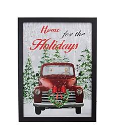 Frame Vintage-Like Truck LED Lighting Christmas Wall Canvas