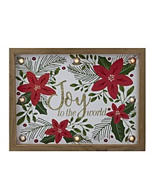 "Lighted Wooden Frame Poinsettia ""Joy To The World"" in Glitter Christmas Plaque"