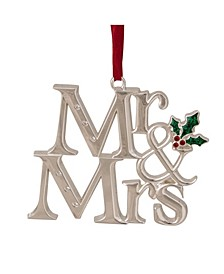 """""""Mr and Mrs"""" Christmas Ornament with Holly Leaves"""