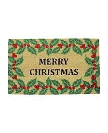"""and Holly Berry """"Merry Christmas"""" Doormat"""