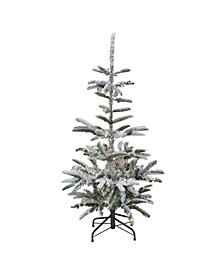 Pre-Lit Noble Fir Artificial Flocked Christmas Tree-Warm Clear LED Lights