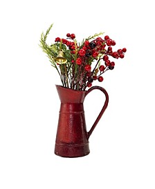 Foliage with Bell in Vintage-Like Milk Jug Christmas Decoration