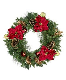 Unlit Pine and Poinsettias Artificial Christmas Wreath