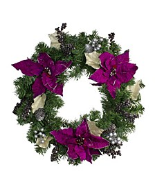 Unlit Poinsettia and Pine Cone Artificial Christmas Wreath