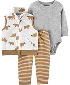 Baby Boy 3-Piece Bear Little Vest Set