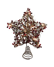 Brown Rattan with Red Berries Star Christmas Tree Topper