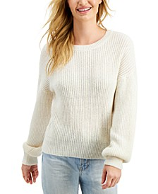 Juniors' Crew-Neck Balloon-Sleeve Sweater