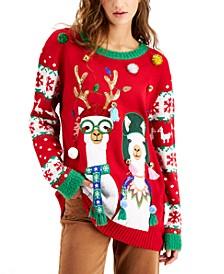 Juniors' Llamas Holiday Sweater