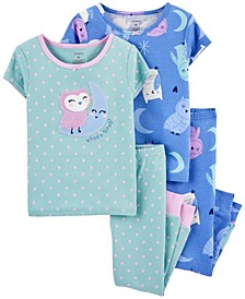 Toddler Girl 4-Piece Owls Snug Fit Cotton PJs