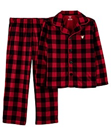 Little Boy or Girl 2-Pc. Buffalo-Check Reindeer Coat-Style Fleece Pajamas