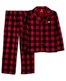 Little & Big Unisex 2-Pc. Buffalo-Check Reindeer Coat-Style Fleece Pajamas