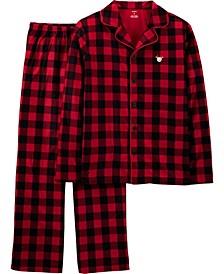 Adult Unisex 2-Pc. Buffalo-Check Reindeer Family Pajamas