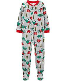 Big Boy1-Piece Christmas Dinosaurs Fleece Footie PJs