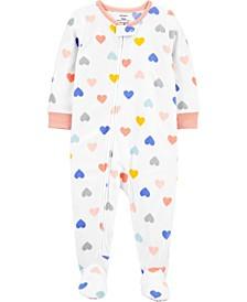 Toddler Girl 1-Piece Heart Fleece Footie PJs