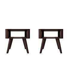 Jewl Mid Century Modern Wood End Tables, Set of 2