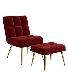 Gregor Modern Tufted Armless Chair and Ottoman Set