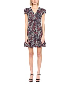 Mixed-Print Flutter-Sleeve Dress, Regular & Petite Sizes