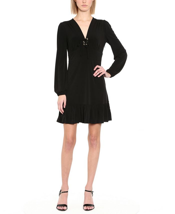 Michael Kors - Plus Size Ruffled Lace-Up A-Line Dress