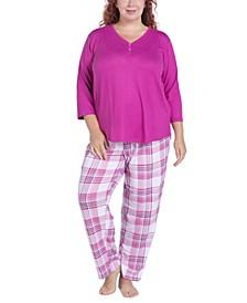 Plus Size Solid Long-Sleeve T-Shirt & Printed Pants Pajama Set
