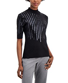 Sequined Elbow-Sleeve Sweater, Created for Macy's