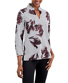 Printed Ruched-Sleeve Top,Created for Macy's