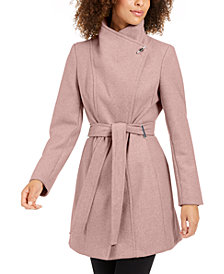 Calvin Klein Asymmetrical Belted Wrap Coat, Created for Macy's