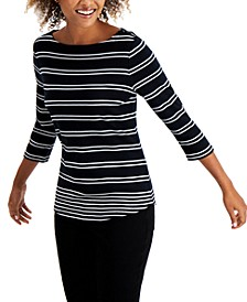 Striped Boat-Neck Top, Created for Macy's