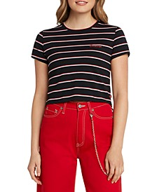 Juniors' Embroidered Striped Baby Tee