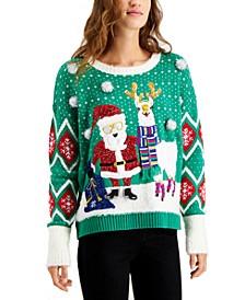 Juniors' Santa & Llama Holiday Sweater