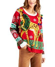 Juniors' Giraffe Holiday Sweater