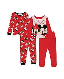 Minnie Mouse Toddler Girls 4-Piece Pajama Set