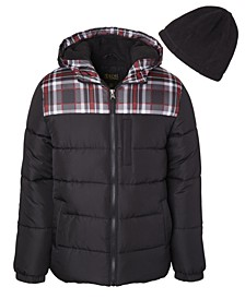 Big Boys Solid Puffer with Plaid Print and Fleece Hat