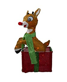 Pre-Lit Rudolph The Red-Nosed Reindeer Gi Box Christmas Outdoor Decoration