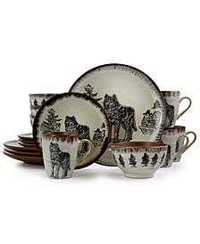 Majestic Wolf 16 Piece Luxurious Stoneware Dinnerware Set