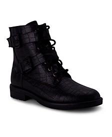 Women's Christan Lace Up Croco Combat Boots