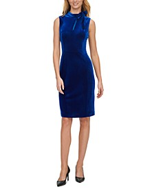 Velvet Tie-Neck Sheath Dress