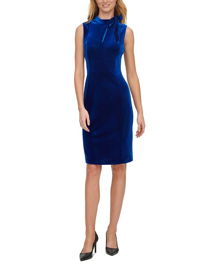 Calvin Klein - Velvet Tie-Neck Sheath Dress