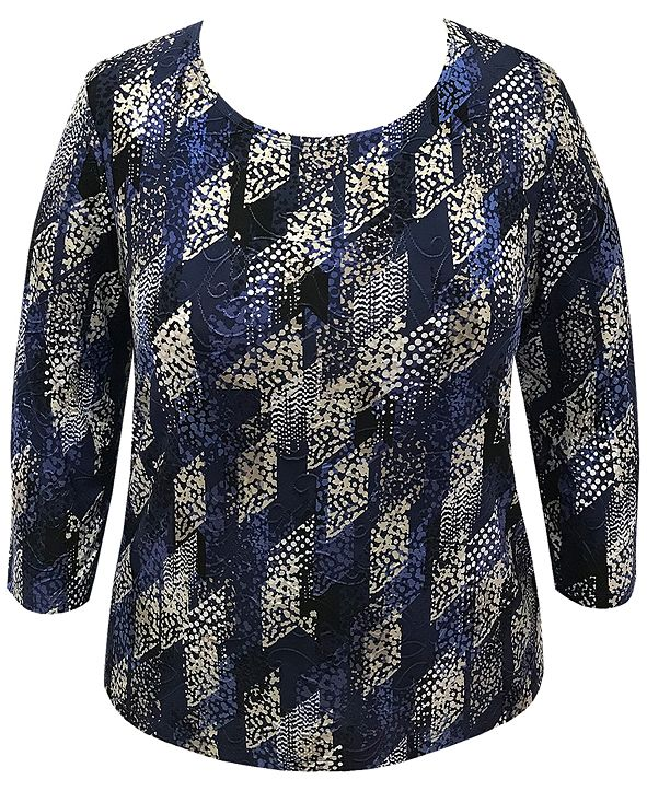 JM Collection Plus Size Abstract-Print Raquel Rain Top, Created for Macy's