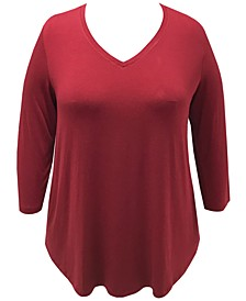 Plus Size Solid 3/4-Sleeve V-Neck Top, Created for Macy's
