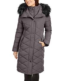 Diamond-Quilt Faux-Fur Trim Hooded Puffer Coat