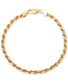 Men's Rope Link Bracelet in 18k Gold-Plated Sterling Silver