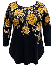Plus Size Floral-Print 3/4-Sleeve Top, Created For Macy's