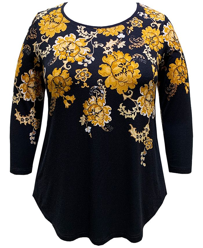 JM Collection - Plus Size Floral-Print 3/4-Sleeve Top