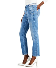 INC Embellished-Waist Straight-Leg Ankle Jeans, Created for Macy's