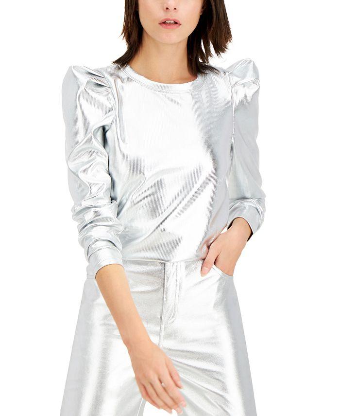 INC International Concepts - Metallic Puff-Sleeve Top