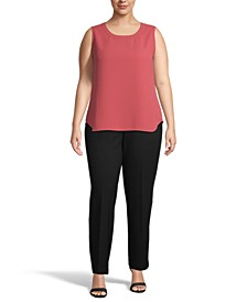 Plus Size Solid Sleeveless Crewneck Top