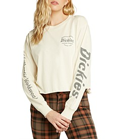 Juniors' Cropped Logo-Print Top