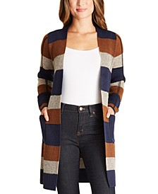 Juniors' Striped Duster Cardigan
